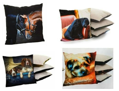Country Matters Soft Touch Home Decor Cushion Lab, Spaniels, Horse, Terrier